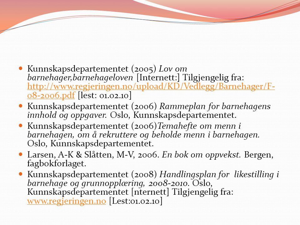 Kunnskapsdepartementet (2005) Lov om barnehager,barnehageloven [Internett:] Tilgjengelig fra: http://www.regjeringen.no/upload/KD/Vedlegg/Barnehager/F-08-2006.pdf [lest: 01.02.10]